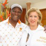 Alassane Ouattara et Nouvian Folloroux Ouattara lors de la campagne présidentielle de 2010