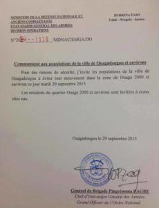 Les habitants de Ouagadougou priés d'éviter le quartier Ouaga 2000