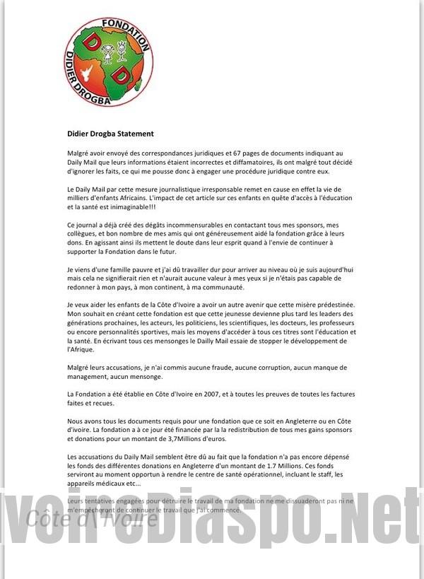 Didier Drogba rejette les accusations du Daily Mail